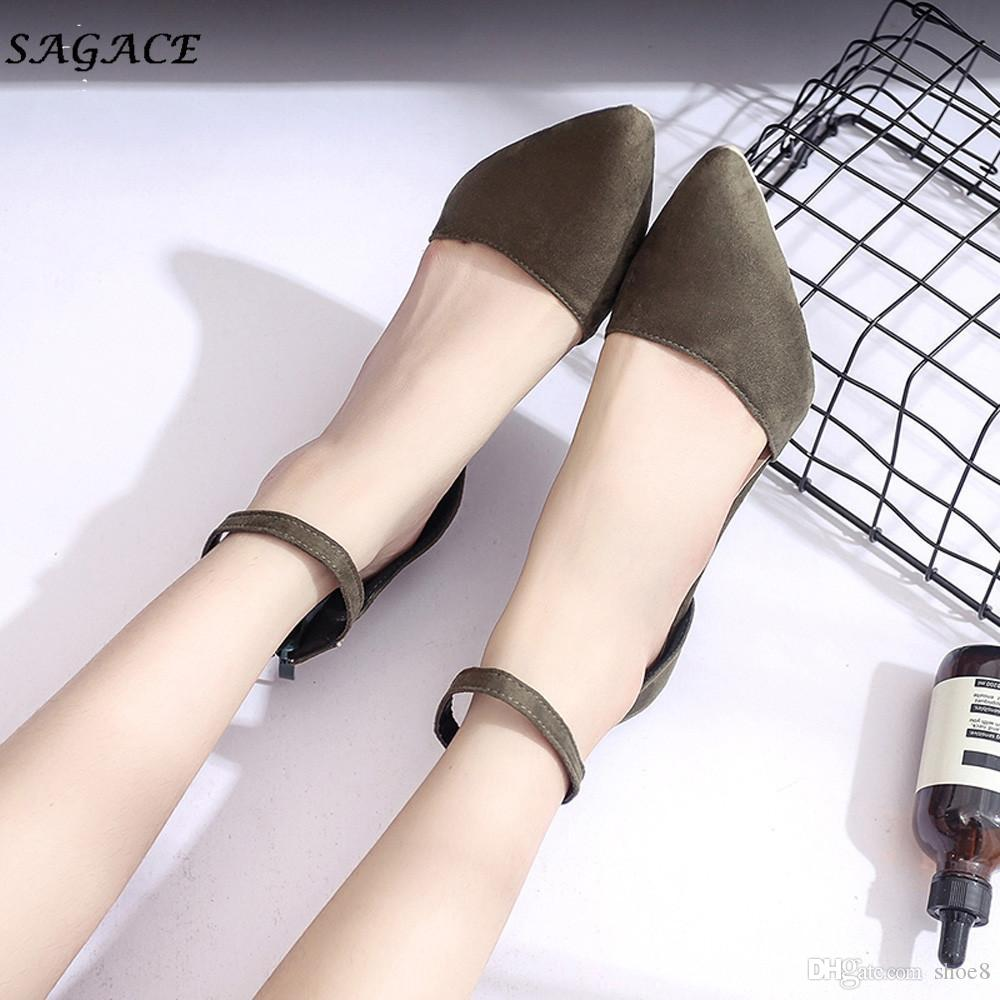 Designer Dress Shoes SAGACE Woman 2019 zapatos mujer Summer New Pointed Toe Block Heels Woman High Heel Pumps Women Office Party
