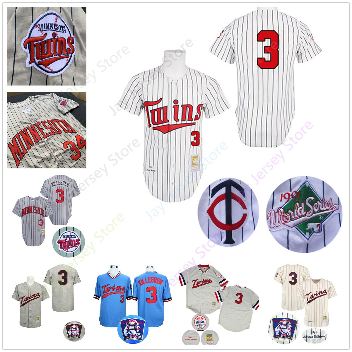 cd1d10cc0bd 2019 Men Harmon Killebrew Jersey Twins 1991 WS World Series Minnesota  Baseball Jerseys Grey Pinstripe White Blue Cream Pullover From Morejersey,  ...