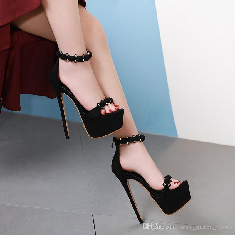 6fa2a0f70c 2019 European Women Rivets Sandals High Heeled Flock Shoes Sexy Platform  Summer Heels Open Toes Thin Heel Black Back Zipper 17cm Reef Sandals Gold  Shoes ...