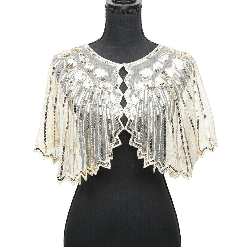 Women 1920s Shawl Poncho Sheer Mesh Shiny Sequined Echarpe Femme Beading  Scalloped Evening Party Bolero Cape For Wedding 2018 Gangsta Bandana  Bandana ... 20d1441072e9