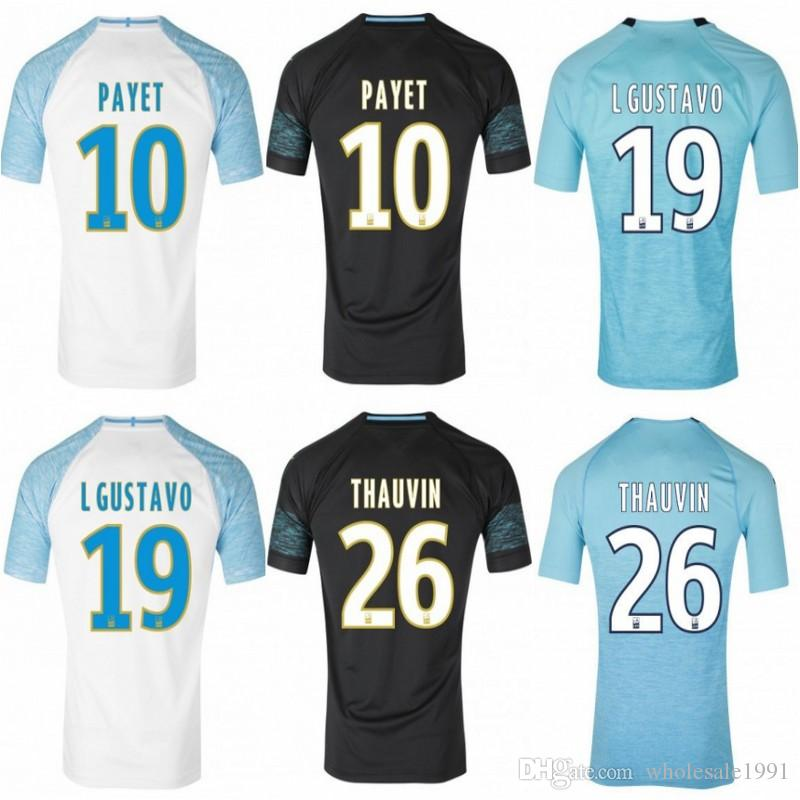 d7a30ac29c747 2019 Olympique De Marseille Camisetas De Fútbol Marsella BALOTELLI PAYET  Uniforme De Fútbol Local Lejos L.GUSTAVO THAUVIN Tercera Camiseta De Fútbol  De ...