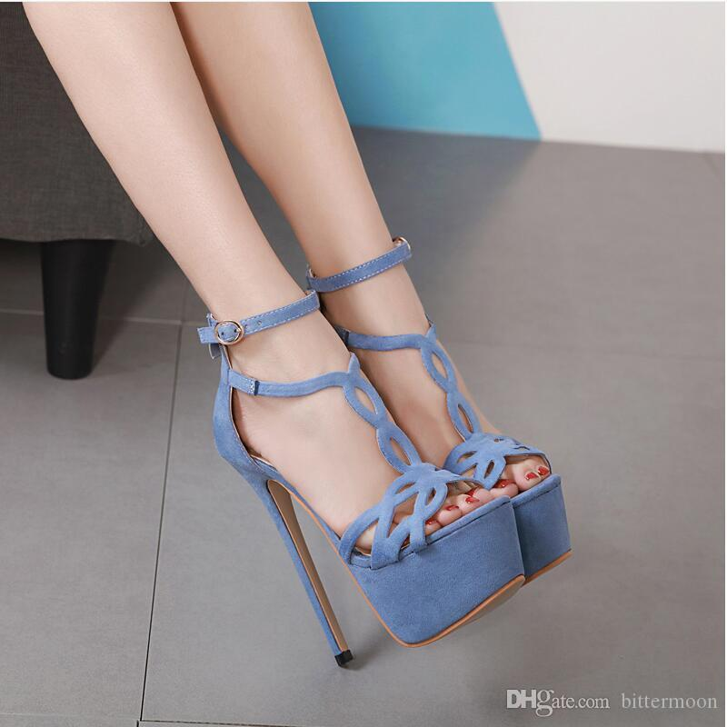 7c8a9b0f71c 2019 New Sexy Flock Cut Outs Women Sandals Peep Toes Platform Summer Heels  Buckle Black Beige High Heeled Shoes 16cm Ladies Sandals Girls Sandals From  ...