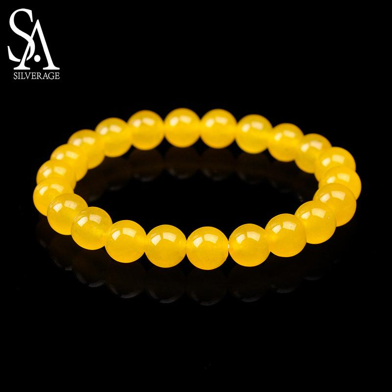 SA SILVERAGE New Bracelet Natural Stone Natural Yellow Agate Jade Bead Bracelet Round 8mm Bracelets Yoga Wristband for Men Women