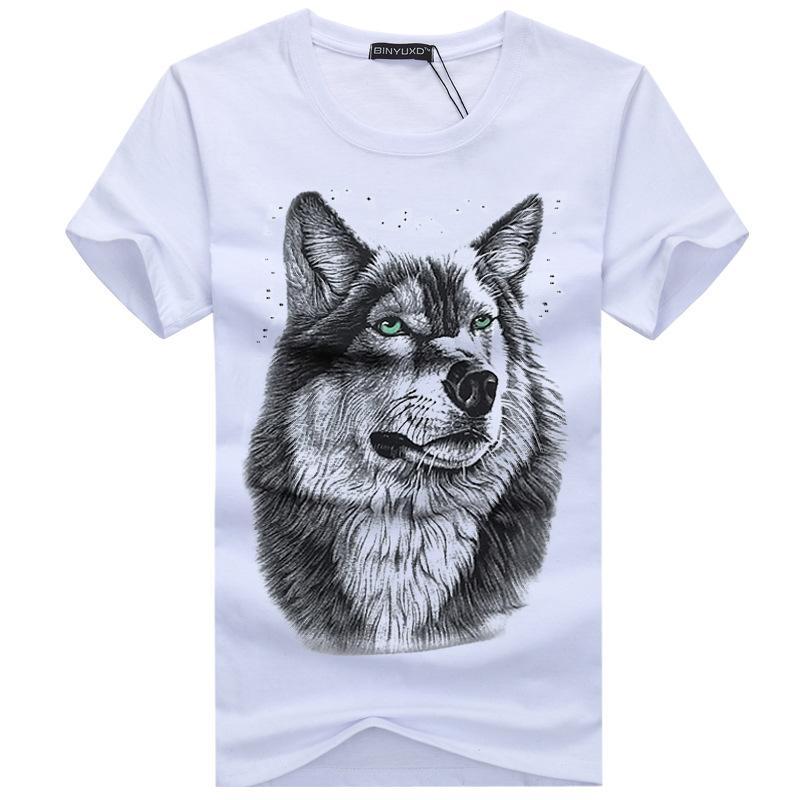 aa0eb93a0abd Hot Sale 3d Wolf T Shirt Mens Brand Men S 3d Wolf Print T Shirt Summer  Short Sleeve Shirts Tops Plus Size Cotton Tees Tops Fun Tee Daily Tee Shirts  From ...