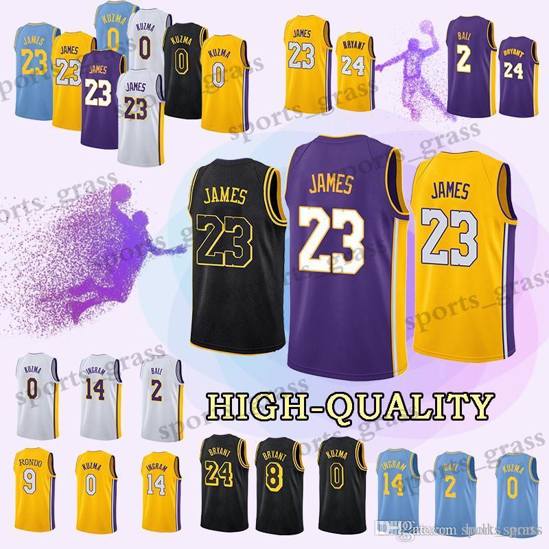 964595ceb414 2019 Los Angeles Kobe 24 Bryant Laker Jerseys 23 LeBron James Lonzo 2 Ball  Brandon 14 Ingram Kyle 0 Kuzma Kobe 8 Bryant Jersey Top From Hulk sports