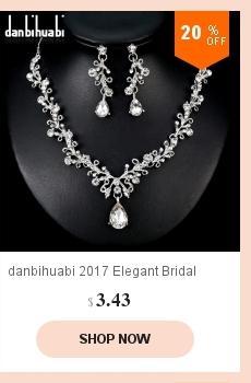 Danbihuabi 2018 Élégant Mariage Ensembles De Bijoux De Mariage Blanc K Strass Collier Boucles D'oreilles Costume Parures pour Femmes Cadeaux
