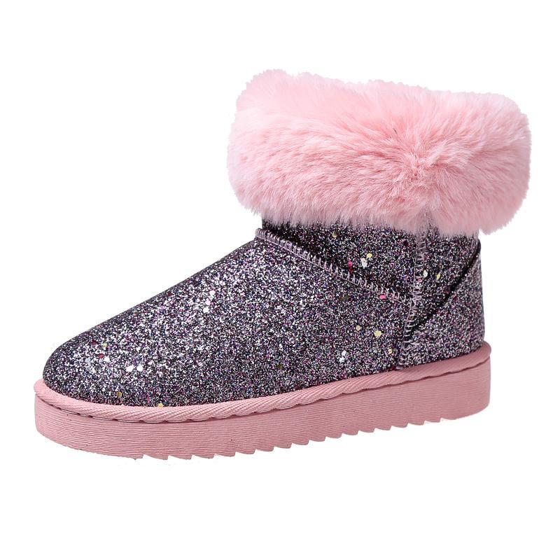 9b61cd9d5 Compre 2019 Nuevo 2018 Zapatos De Invierno Para Mujer Botas Para La Nieve  Lentejuelas Flash De Tela De Felpa Caliente Para El Frío Invierno Botas De  Mujer ...