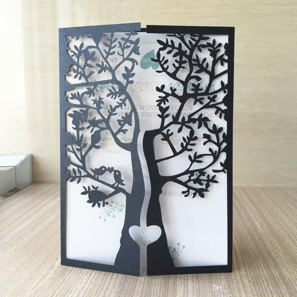 Chic Tree love Bird Design Laser Cut Pearl paper Wedding Invitation Cards Party Decoration Birthday Party Invitation Greeting Card