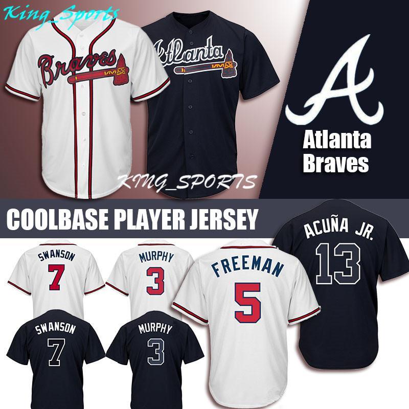 new product 723ac ab4d1 Atlanta Braves Majestic Coolbase Jersey 13 Ronald Acuna Jr. Jersey 5  Freddie Freeman Jersey 3 Dale Murphy 10 Chipper Jones 7 Dansby Swanson