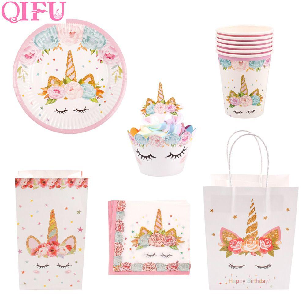 QIFU Unicorn Birthday Party Supplies Decoration Kit Unicorn Party Bags Baby Shower Unicornio Gift Bag Candy Box Goodie Bags