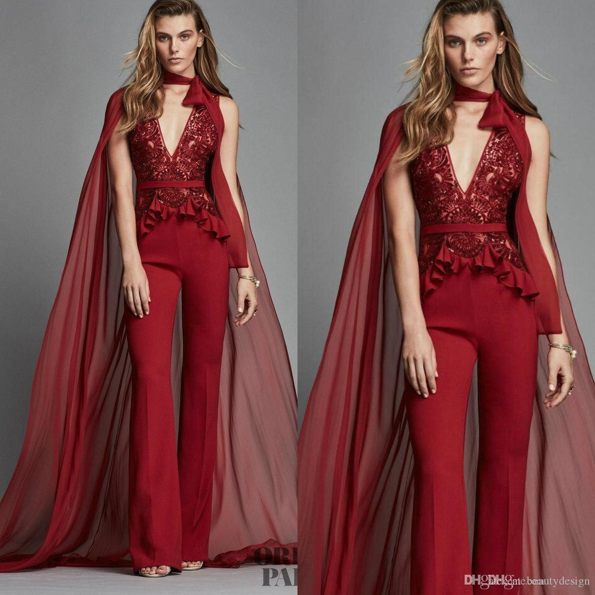 6b248b895bc Zuhair Murad Red Evening Dresses With Warp Deep V Neck Lace Appliques  Fashion Women Jumpsuits Custom Made Prom Dress Chiffon Party Gowns Ladies  Occasion ...