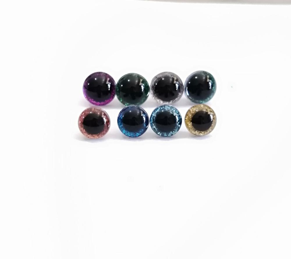 1000pcs/lot tiny 9mm-10mm-11mm-12mm clear round shape glitter toy safety eyes & glitter fabric & hard washer--color&size option