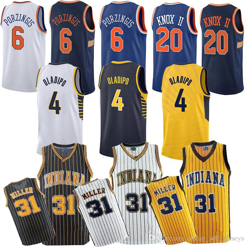 b24ad490916 2019 Indiana 31 Miller PACERS Pacers 4 Oladipo Jerseys Reggie 20 Knox Jersey  6 Porzingis Knick Jerseys Basketball Jersey 2019 2018 New Top Cheap From ...