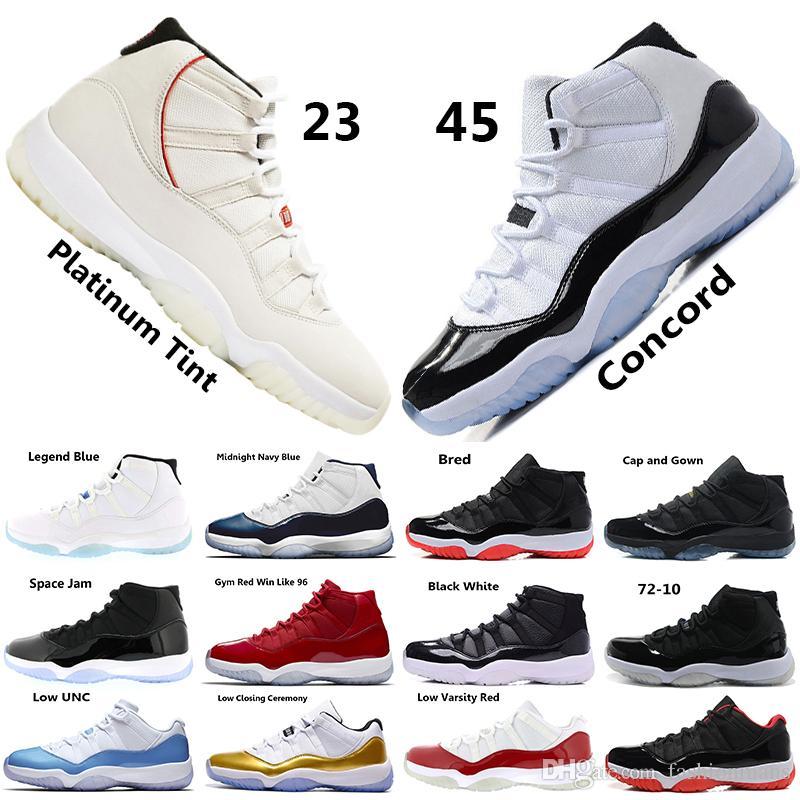 differently 1568a 411d4 Acquista Concord 45 XI 11s Uomo Scarpe Da Basket Platinum Tint Gym Red Win  Come 96 Scarpe Da Uomo Di Design Cap And Gown 11s Sneakers Sportive A   60.92 Dal ...