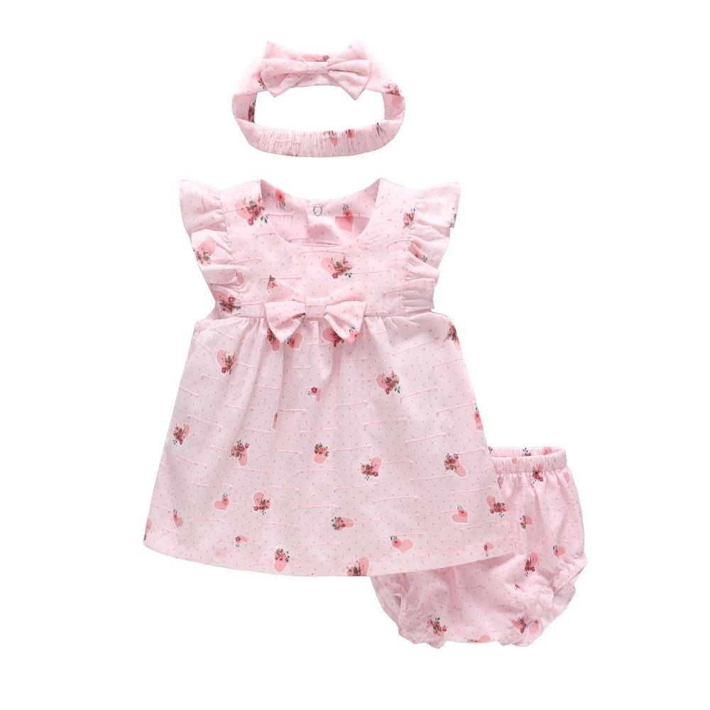 Vlinder Baby Girl Dress Baby Girl Clothes Pure Cotton Fruit Painting Dress Set Newborn Short Sleeves Infant Dresses 3pcs Set J190614