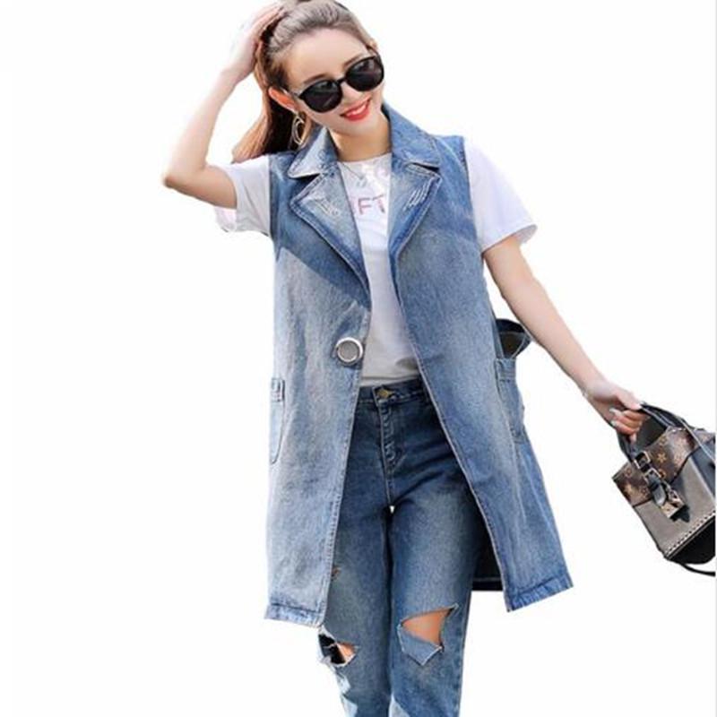 acheter populaire 819ed 50189 Women s Denim Vests Long Sleeveless Vest Spring 2018 Female veste femme  colete Jeans feminino Pocket Belt Frayed Plus Size 3XL