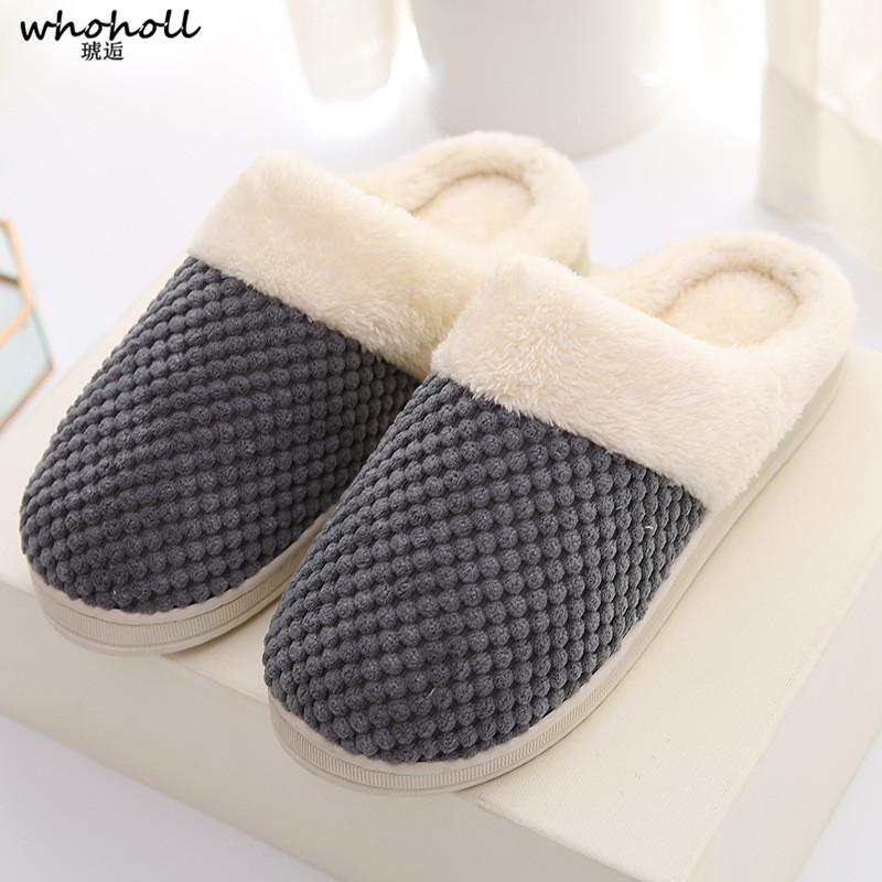 972210194f66 WHOHOLL 2018 Women Home Slippers Couple Lovers Winter Soft Warm Plush Shoes  Slippers Indoor House Carpet Floor Winter Boots Cowgirl Boots From  Tinypari