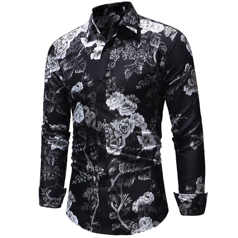 2cb9a415a97 2018 Spring Autumn Men Shirts Fashion Print Long Sleeve Stand Collar ...