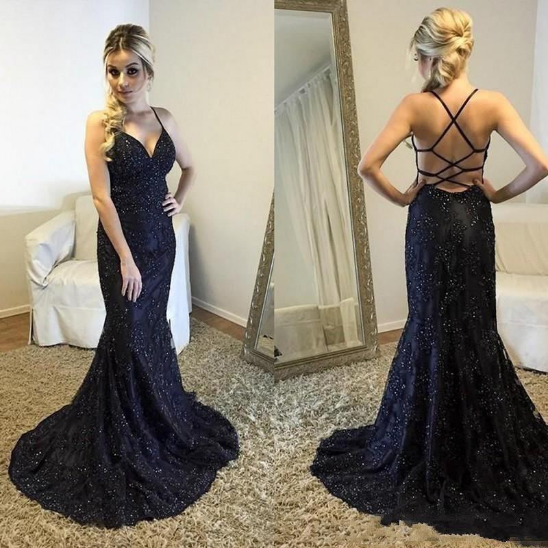 4d6abd369a 2018 Black Mermaid Prom Dresses Spaghetti Lace Applique Beaded Crystal  Criss Cross Straps Back Sweep Train Formal Party Wear Evening Gowns