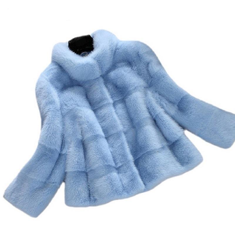 Naiveroo Winter Short Hair Faux Fur Coat 2018 New Arrival Women Long Sleeve Solid Color Blue White Pink Plus Size 2X Outerwear