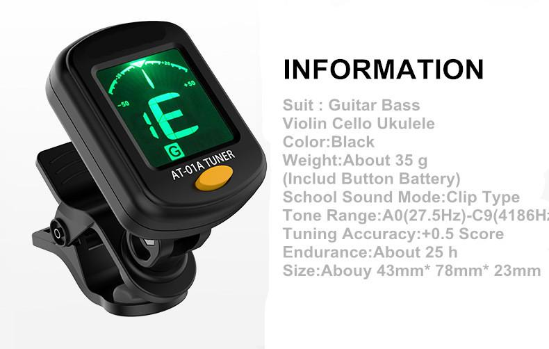 AT-200D Aroma High Quality Clip On Guitar Tuner Portable Universal Digital Tuner for Chromatic Guitar Bass Ukulele Violin