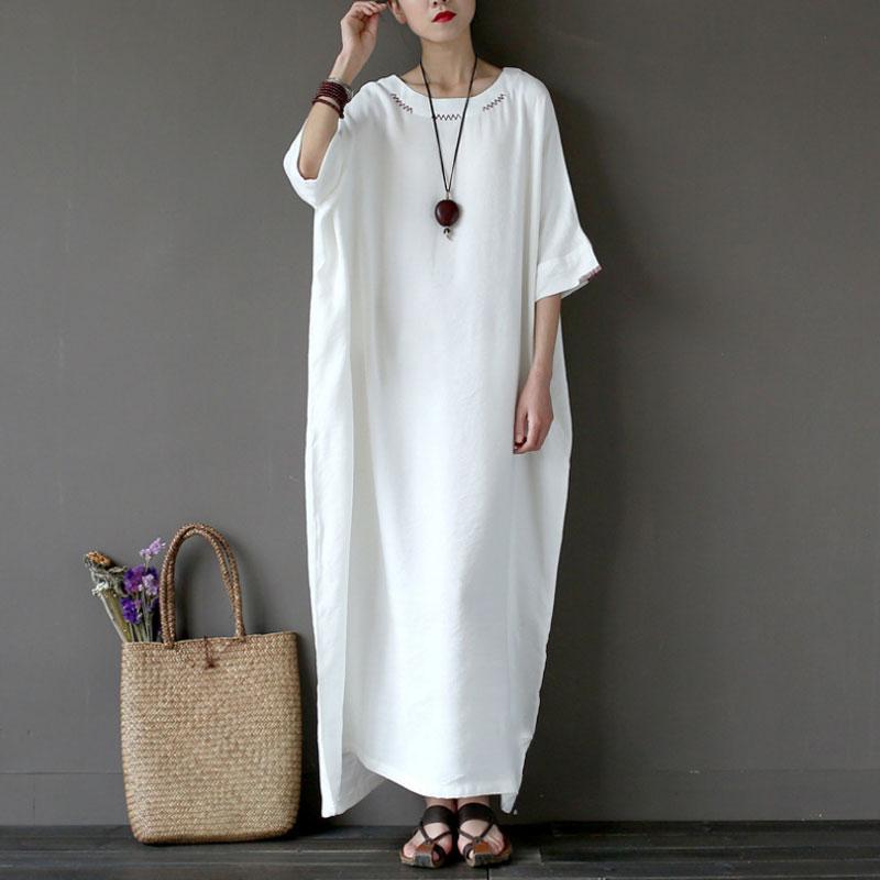 12d15550e1 Loose White Maxi Dress Women Casual Cotton Linen Oversize Long Dress 2018  Summer Embroidery Half Sleeve Dresses Plus Size