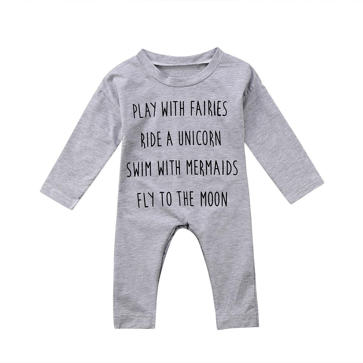 دعوى لطيف الطفل طفل السروال القصير القطن طويل كم الوليد بوي فتاة الأعلى رومبير بذلة القطن الطفل ملابس الزي USA