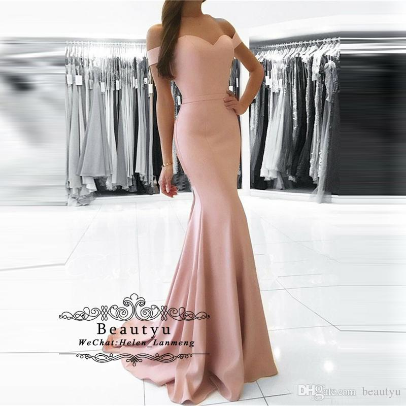 Cheap Prom Dresses Long 2019 Elegant Satin Off The Shoulder Floor Length Vestidos de festa Women Arabic Formal Party Evening Gowns