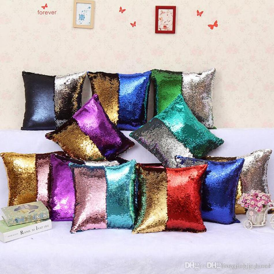 Sequins Mermaid Pillow Case 40*40cm Mermaid Glamour Cushion Cover Reversible Glitter Pillow Cover Magic Pillowslip 36 Colors LJJ_OA3387