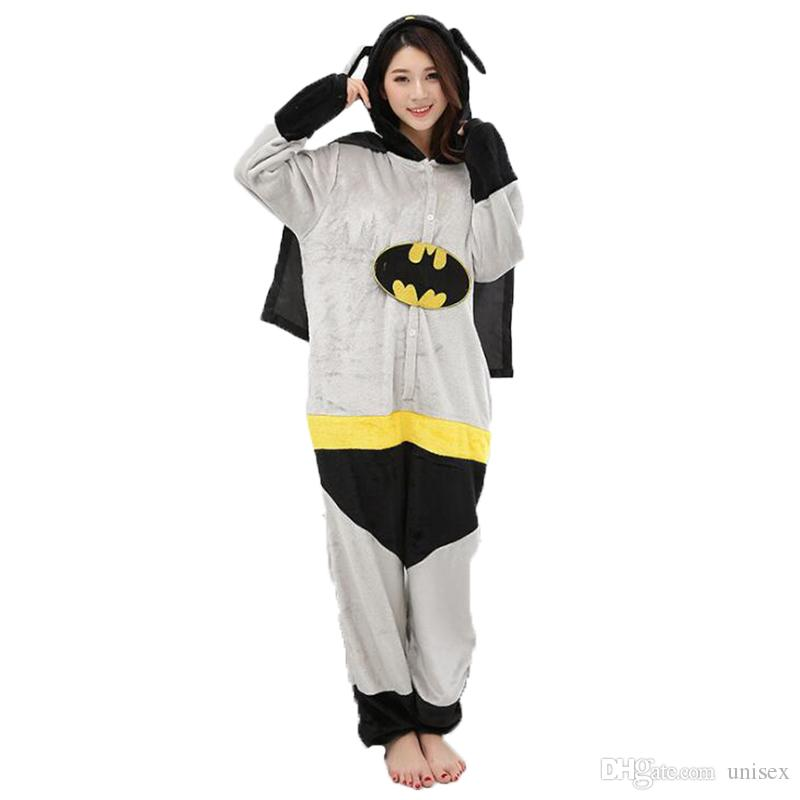 228384e0d63958 Adult Anime Batman Superman Kigurumi Onesies Costume For Women Men Funny  Warm Soft Animal Cute Onepieces Pajamas Home Wear Girl