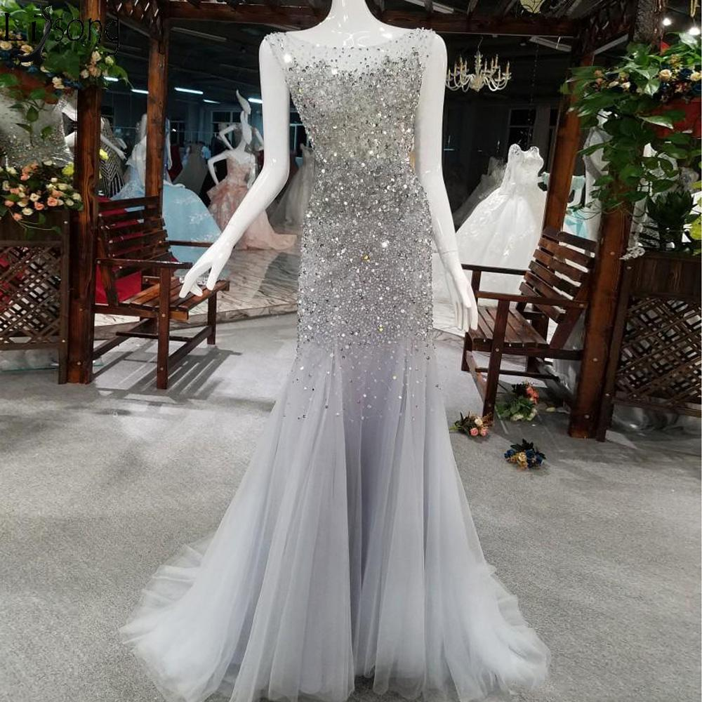 b0c2ca964d4f Sparkly Crystal Mermaid Prom Dresses Luxury Heavy Beading Backless Evening  Dress Floor Length Formal Party Gowns Real Photos