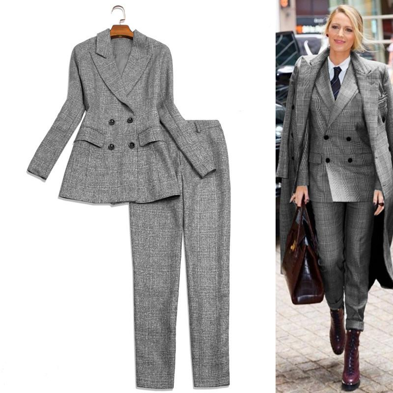 2019 Women Pants Suit Fashion Casual Plaid Double Breasted Blazer