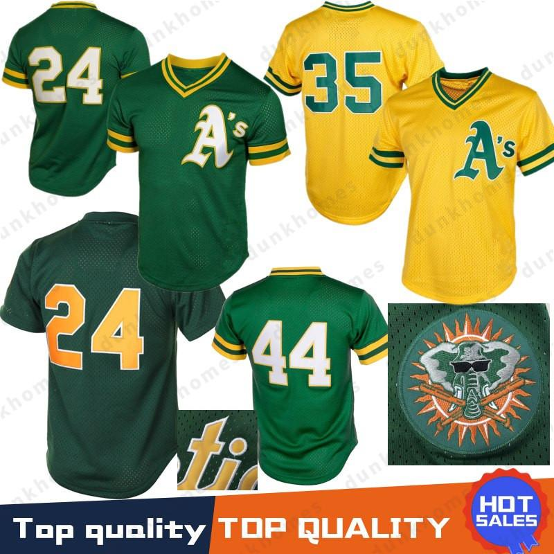 pretty nice ceaed 4afd7 Stitched 44 Reggie Jackson Retro Mesh Oakland Jerseys Athletics 24 Rickey  Henderson Yellow Baseball Jersey Top quality 100% Stitched