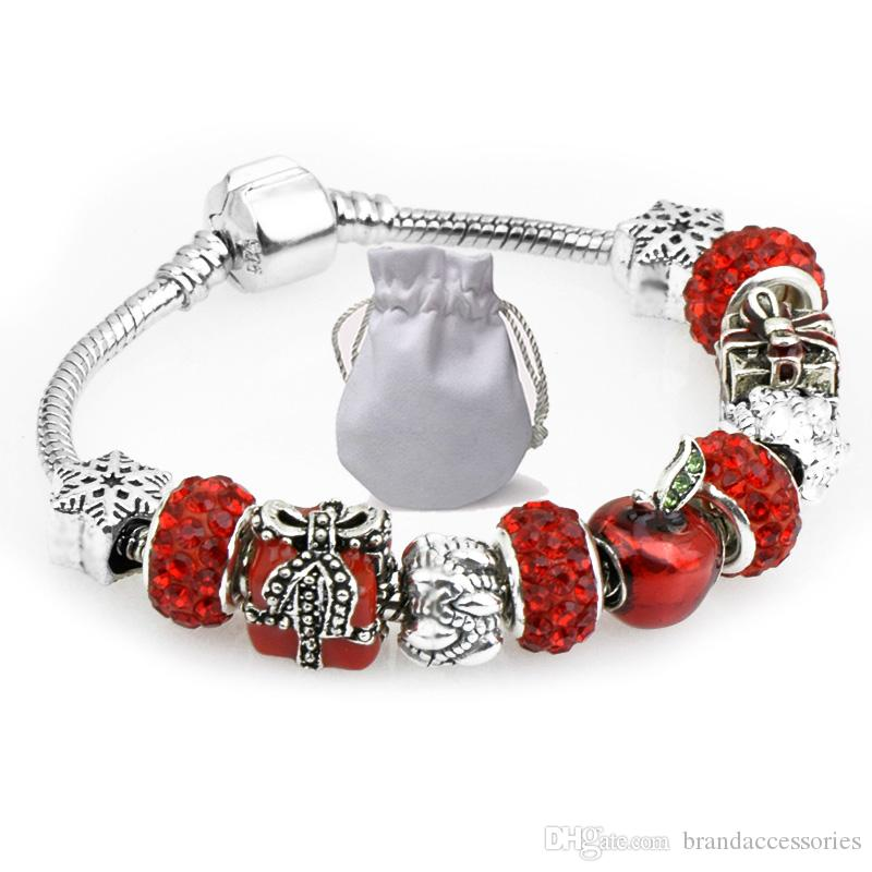 5c5afb672 Handmade Diy Charms Bracelets Fit Pandora Woman Red Apple Crystal Glass Beads  Bangle Silver Snowflake Christmas Gift Jewelry P121 Womens Charm Bracelet  ...