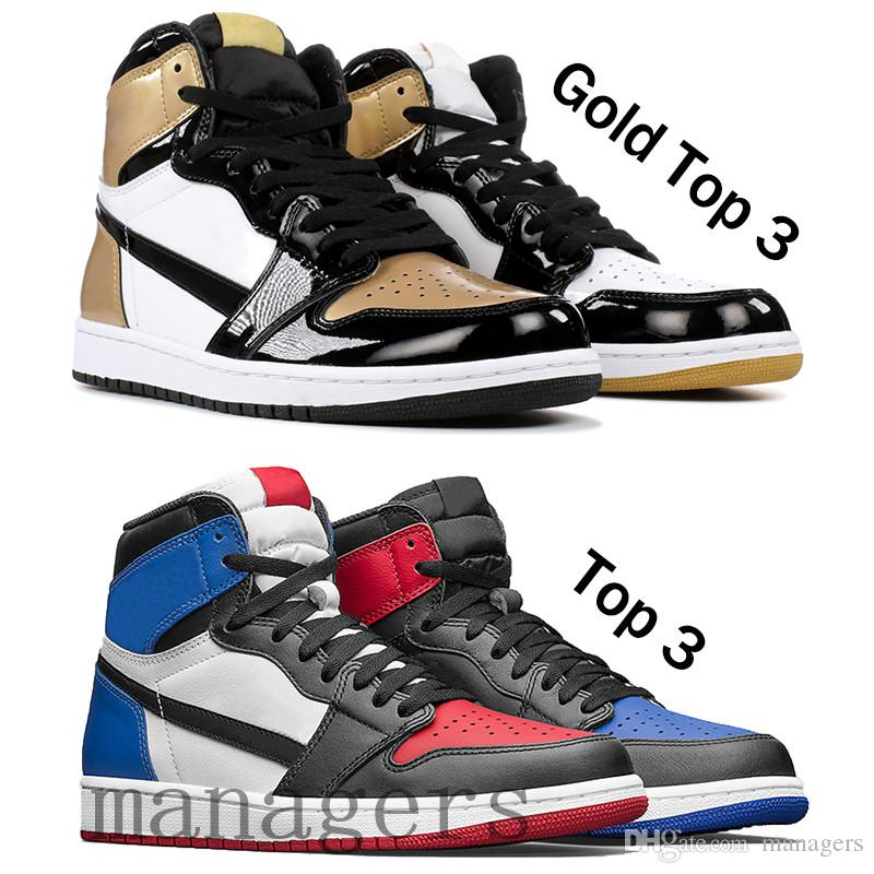 9db7a70e67 2019 Men mens 1 high OG basketball shoes 1s gold top 3 black toe Chicago  Banned anniversary laser court purple royal designer sneakers