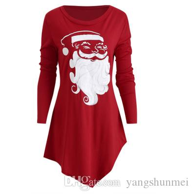 2910a67c776f Santa Claus casual print T-shirt female large size long-sleeved dress red long  shirt T-shirt women's clothing