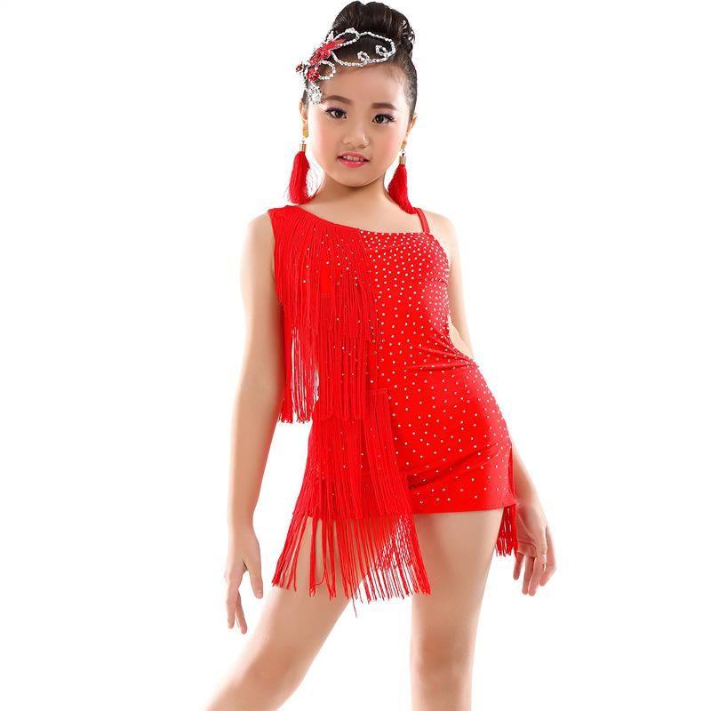 0040894431c6 2019 2019 Spring Latin Dance Dress For Girl Sling Sequin Tassel Diamond  Standard Ballroom Dresses For Kids Performance Wear Clothes From Manxinxin,  ...