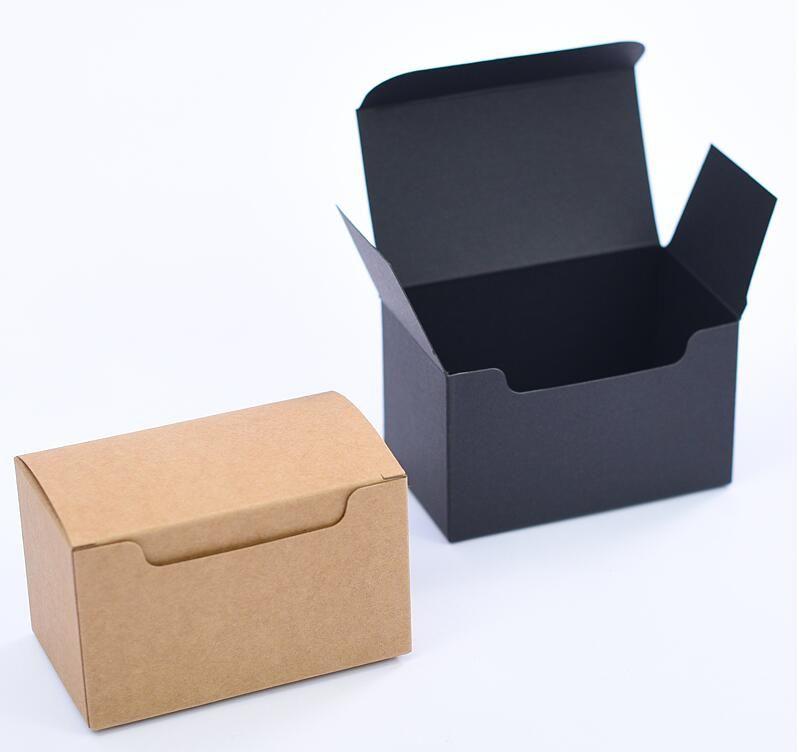 Acheter 10 6 6cm Noir Kraft Papier Cadeau Paquet Carton Carton