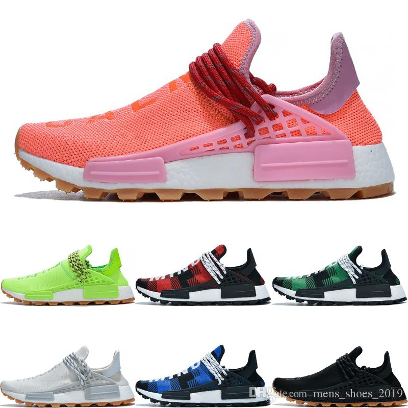 wholesale dealer 1e36c a87c4 2019 Newest HU human race pharrell williams Breathe Through volt pink Blue  Plaid Infinity Species Luxury Mens Sport Sneakers size 36-47