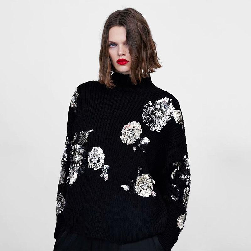 492b5e5b5 2019 Beading Sequined Loose Knitted Sweater Floral Pattern Turtleneck Long  Sleeve Stretchy Pullovers Female Retro Tops From Yonnie