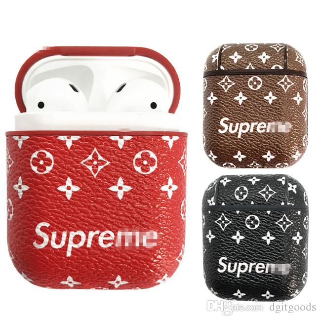 For Airpods Leather Case SUP Brand Soft Ultra Thin Protector Cover With Anti-lost Buckle for Air pods Earphones i9s Tws Retail Pack