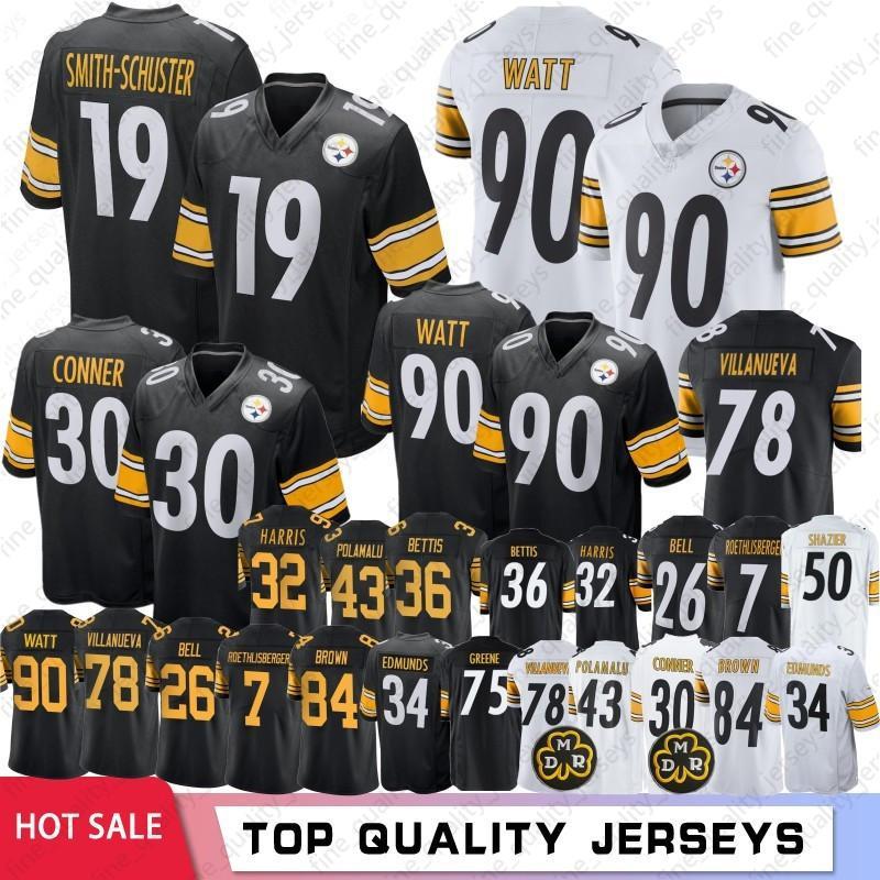 reputable site 078be 5142d 19 Juju Smith-Schuster Pittsburgh 84 Antonio Brown Steelers Jerseys 90 T.J.  Watt 30 James Conner 78 Alejandro Villanueva 2019 Hot