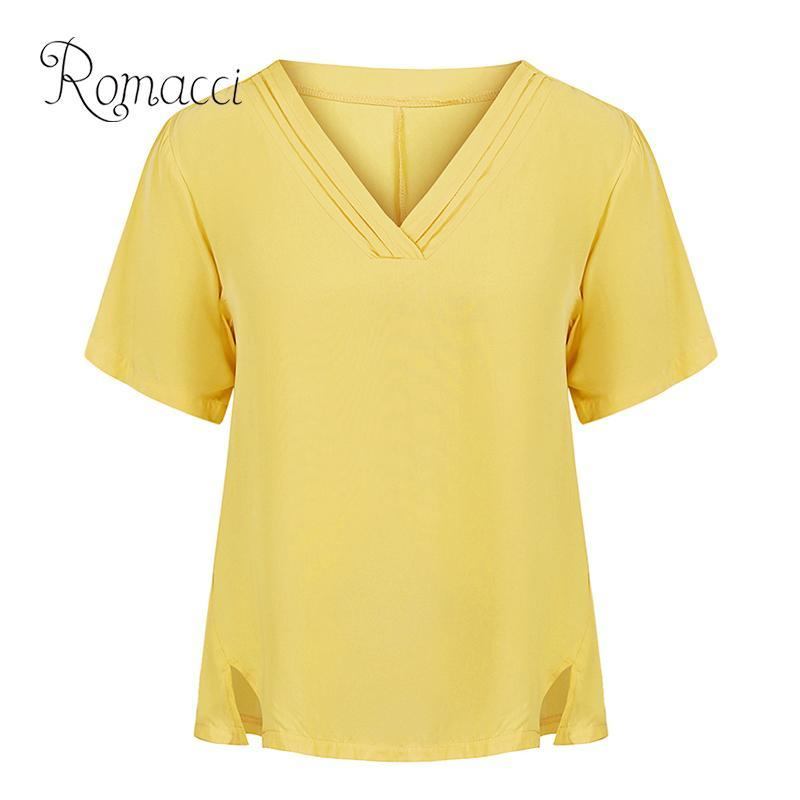 Romacci Women Plus Size Blouse Solid Color V Neckline Pleated Short Sleeve Summer Top 2019 Side Splits Vintage Loose ladies Tops