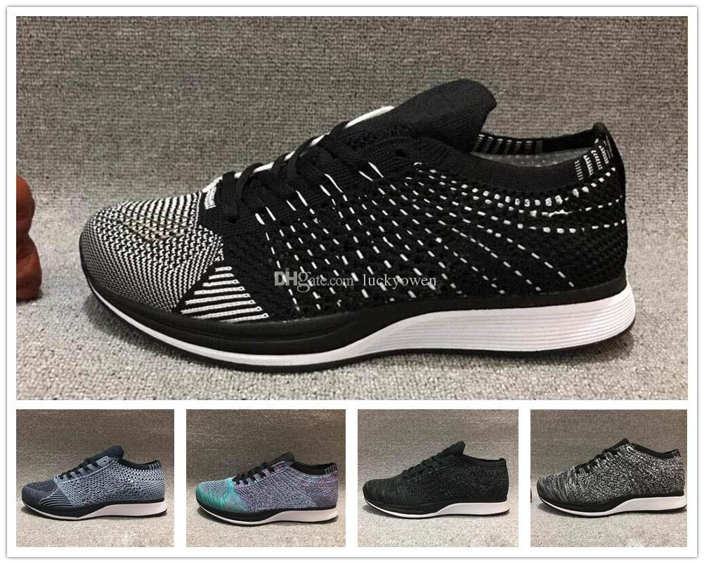 new concept 82eb7 cfd94 Compre Nike Flyknit Racer 2017 El Más Nuevo Air Zoom Mariah Fly Racer 2  Mujeres Hombres Atléticos Zapatos Casuales Negro AIR Zoom Racer Zapatillas  De ...