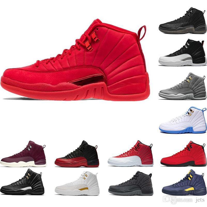 Zapatillas de baloncesto para hombre 12s Gimnasio Red Michigan Bordeaux 12 azul marino Bulls The Master Flu Game zapatillas de deporte de lana de taxi