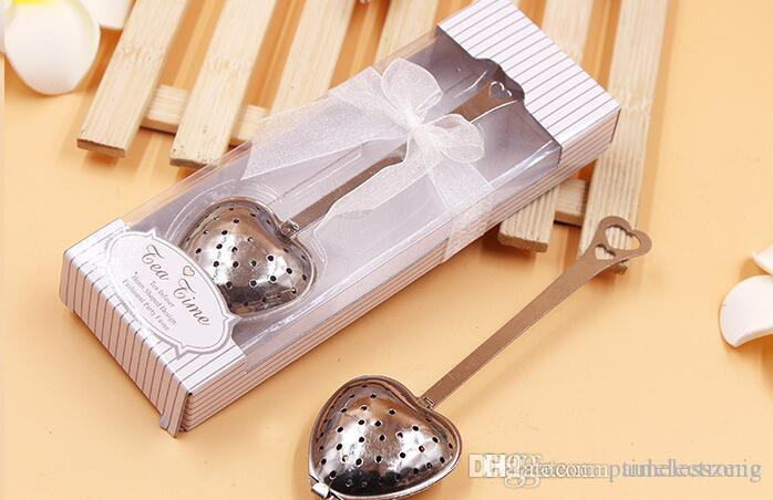 Creative stainless steel tea tool Heart-shaped metal tea strainer Wedding supplies Tea Time infuser Green and white packing box