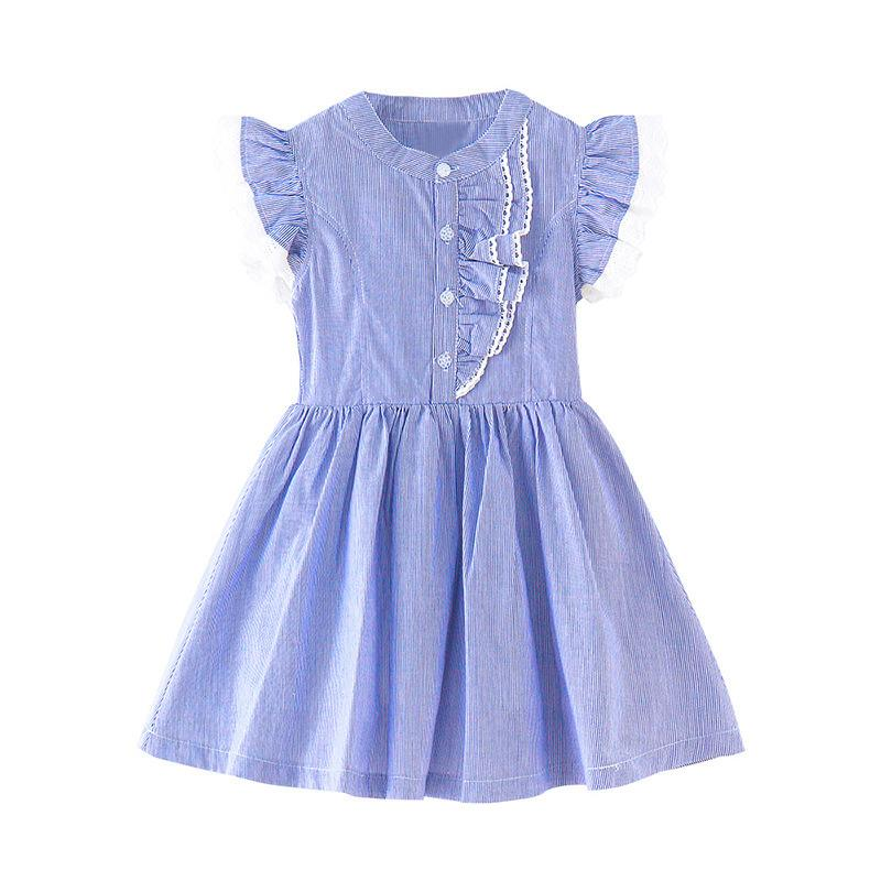 7edee3d455b 2019 Shirt Style Dress Lace Chiffon Striped Lace Dress Age For 6 16 Yrs  Teenage Girls School Clothes Summer Big Girls Party Frocks From Cover3085