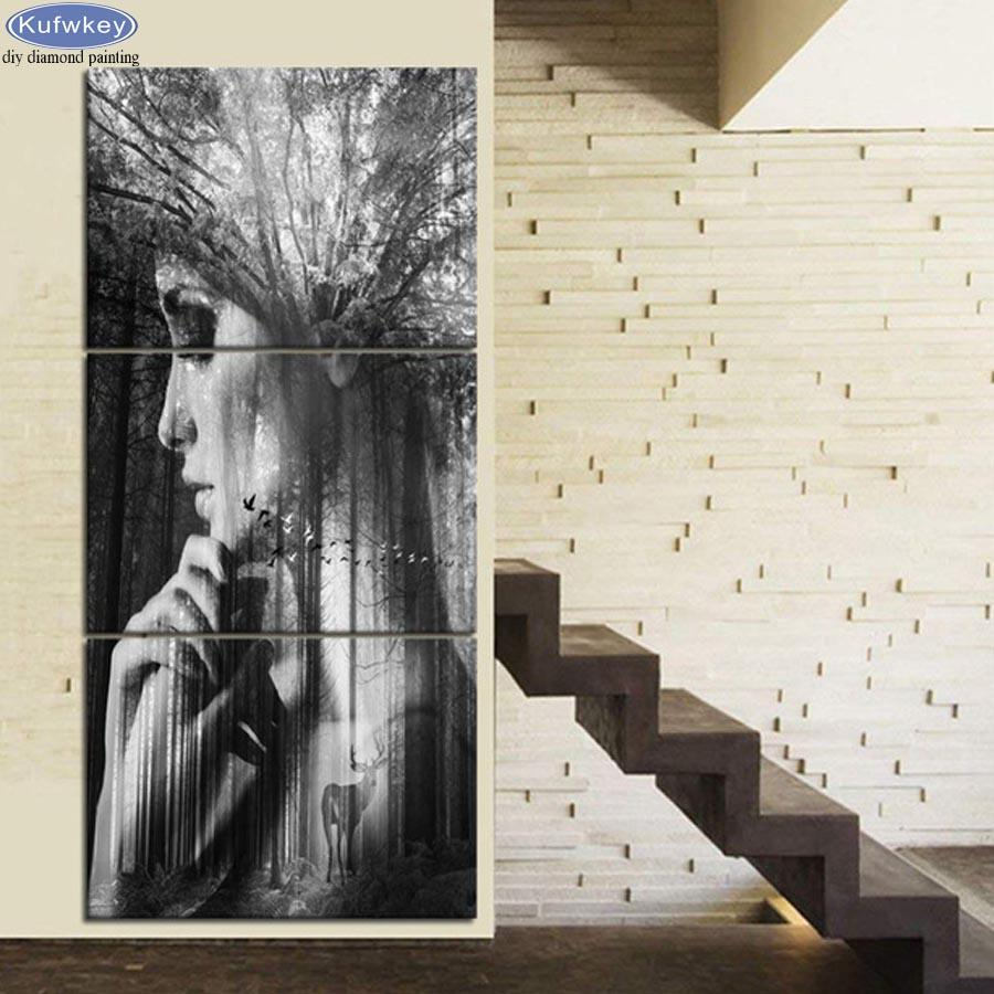 3 PCS Retro Pictures diamond Painting Abstract forest/woman face Diamond mosaic Rhinestone pictures Black and White Wall Decor