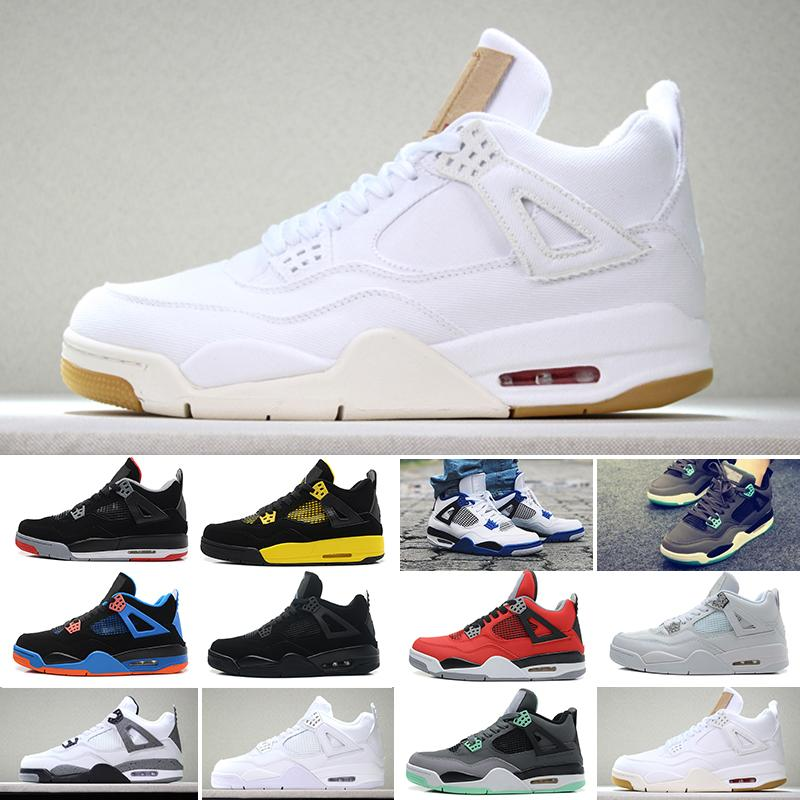 wholesale 2019 New 4 4s Mens Basketball Shoes Toro Bravo Cactus Jack 2012 Release White Cement Designer Sport Sneakers 40-47