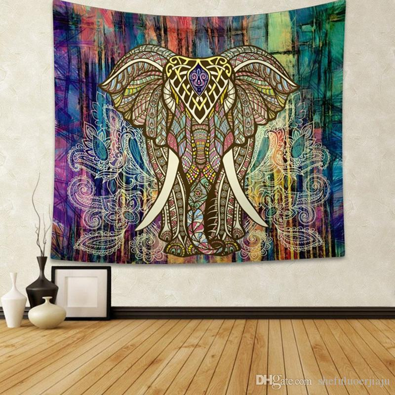 2019 elephant Tapestries hanging cloth digital printing tapestry fresco curtain living room background wall scarf outdoor
